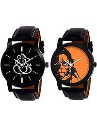 Swadesi Stuff Black Leather Strap Lord Hanuman & Lord Ganesh Premium Quality Watch For Men & Women Boys & Girls