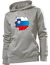 f5e5ecf5bd love-all-my-shirts Fussball Slowenien Fanhoodie Frauen Damen Hoodie Pulli  Kapuzen Pullover