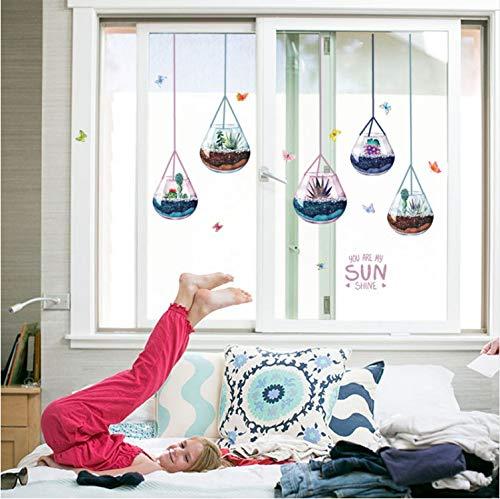 baiyinlongshop Wandaufkleber Sukkulenten Glas Tropfenform Kronleuchter Moderner Eingang Wohnzimmer Sofa Tür Glas Decorativedecals -