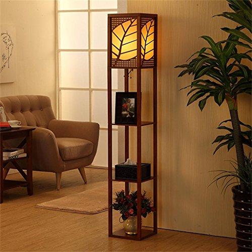 WEBO HOME- Chinesische einfache Stehleuchte mit Regalen E27 Wohnzimmer Schlafzimmer Studie Raum kreative Persönlichkeit Stehleuchte -Stehlampe ( Farbe : Walnut Farbe )