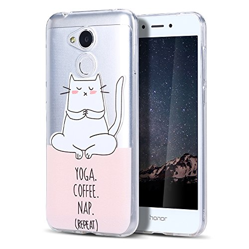 Huawei Honor 6A Hülle, CaseLover Ultradünner Transparenter Tasche Schutzhülle, Honor 6A 2017/2018 (5 Zoll) Weiche TPU Handyhülle Stoßdämpfende Schale Fall Case Shell, Katzenmeditation