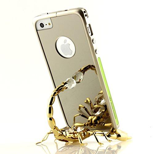 Original UrCover® Mirror Spiegel Schutz Hülle Aluminium Bumper für Apple iPhone 6 / 6s (4.7 Zoll) Zubehör Hülle Etui Spiegelhülle Case Cover Alu Cover Meta [deutscher FACHHANDEL]l Champagner Gold Schwarz