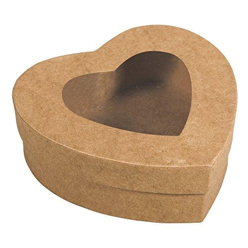 Rayher 67210000 Pappmaché Box Herz, FSC Recycled 100%, 12,2x11,2x4,3cm