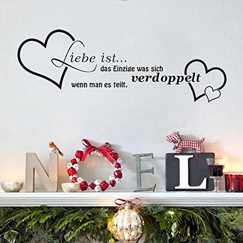 """ufengke® """"Liebe ist"""" German Liebe Zitate und Sprüche Wandsticker, Wohnzimmer Schlafzimmer Entfernbare Wandtattoos Wandbilder"""