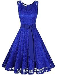 KOJOOIN Damen Vintage Kleid Brautjungfernkleid Knielang Spitzenkleid Cocktailkleid