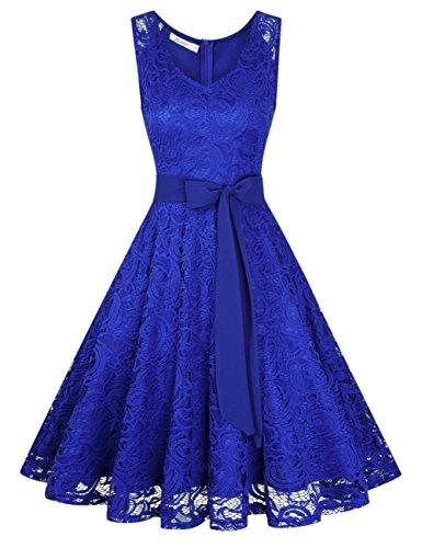 KOJOOIN Damen Vintage Kleid Brautjungfernkleid Knielang Spitzenkleid Cocktailkleid mit neum Gürtel Empire Blau M