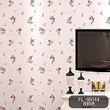 REAGONE Non-Woven, papel tapiz, Pequeño Jardín Europeo Broken Flowers, Non-Woven Wallpaper 3D estéreo, dormitorio, sala de estar, Sala de bodas, pared de fondo, papel tapiz,FL-95144 Luz Rosa