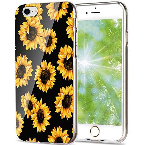 6 Flower Mädchen-top (iPhone 6S Hülle, iPhone 6 Hülle, Aikin einfach entworfenes Blumen-Muster, weiche TPU, Flexible Hülle, stoßfest, niedliche Schutzhülle für iPhone 6, iPhone 6S, 11,9 cm (4,7 Zoll), Sunflower + Black)