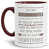 Tassendruck Berufe-Tasse Ich Bin Chefin, Ich löse Probleme, die Du Nicht verstehst Innen & Henkel Weinrot/Für Sie/Job / mit Spruch/Kollegen / Arbeit/Geschenk