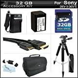 32GB Accessory Kit For Sony DEV-3 Sony DEV-5 Digital Recording Binoculars Includes 32GB High Speed SD Memory Card + Extended Replacement (2300Mah) NP-FV70 Battery + Ac/Dc Charger + Pro Rugged Case / Bag + Mini HDMI Cable + 57 Tripod + USB Reader + More
