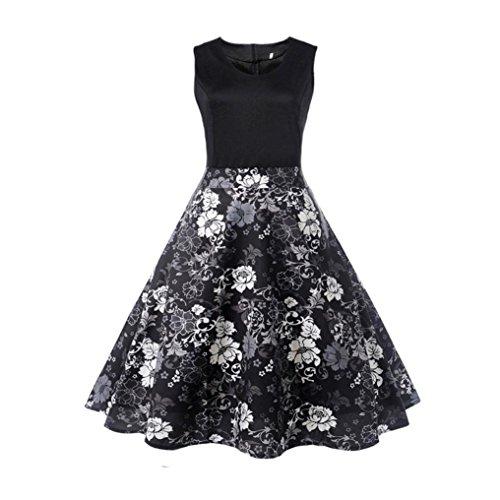 Robe de soirée, Vintage rétro 1950's Audrey Hepburn O-cou Impression sans manches robe de soirée décontractée robe de bal robe Noir