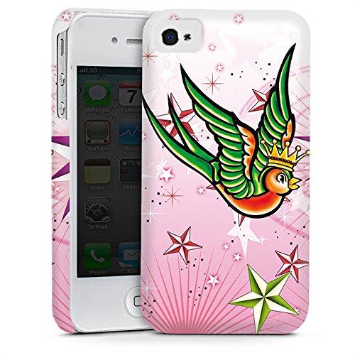 Apple iPhone 4 Housse Étui Silicone Coque Protection Simulation Oiseau Étoiles Cas Premium mat