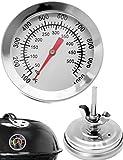HOMETOOLS.EU® - Temperatur-Beständiges analoges BBQ Grill Koch Thermometer | zum Nachrüsten für BBQ Grill Töpfe Bräter Räucherofen | 10°C - 500 °C