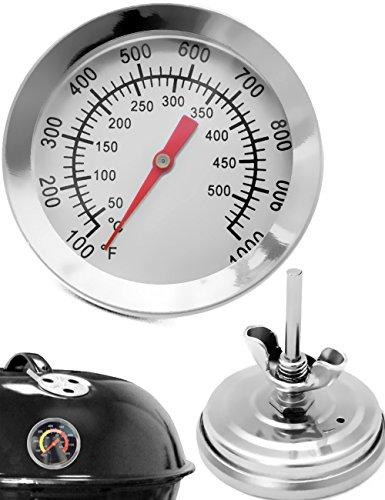 HOMETOOLS.EU® - Temperatur-Beständiges analoges BBQ Grill Koch Thermometer | zum Nachrüsten für BBQ Grill Töpfe Bräter Räucherofen | 10°C - 350 °C Smoker-thermometer Weber