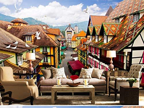 Gewohnheit Irgendeine Größe Exotischer Stil Europäische Und Amerikanische Architektur 3D Tv Hintergrund Wandaufkleber Wasser Stadt Lane View Home Decor Tapete Wandbild (Blossom Lane)
