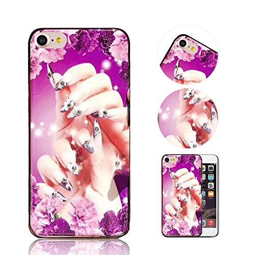 iPhone 6S Plus / 6 Plus Hülle, QianYang TPU Silikon Diamant Muster Schutzhülle für iPhone 6S Plus / 6 Plus Handyhülle Nägel Mode Protektiv Tasche Schale - Lila