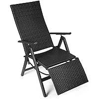 Preisvergleich für Vanage Polyrattan Gartenstuhl mit Fußablage in schwarz - Alu Klappstuhl - Hochlehner - Klappsessel - Gartenmöbel - Relax-Sessel für Garten, Terrasse und Balkon geeignet