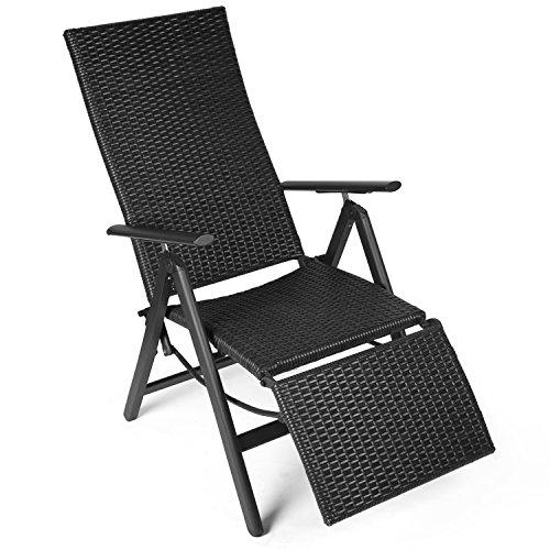 Vanage Polyrattan Gartenstuhl mit Fußablage in schwarz -  Alu Klappstuhl - Hochlehner - Klappsessel - Gartenmöbel - Relax-Sessel für Garten, Terrasse und Balkon geeignet