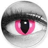 Funnylens Farbige Kontaktlinsen Pink Cat in rosa - weich ohne Stärke 2er Pack + gratis Behälter - 12 Monatslinsen - perfekt zu Halloween Karneval Fasching oder Fasnacht