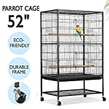 Popamazing 2 Tiers Large Bird Breeding Cage/Aviary for Cockatoo/Parrot/Finch Bird with Perch Stand and Wheels
