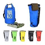 Relaxdays Ocean Pack 10 L, Wasserdichter Dry Bag, ultraleichter Trockensack für Kajak, Segeln, Rafting, Skifahren, Blau