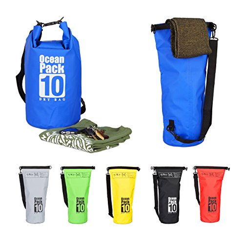 Relaxdays 10022783_45 zaino impermeabile ocean pack 10 l borsa stagna dry bag sacca ultraleggera per kajak vela sci blu