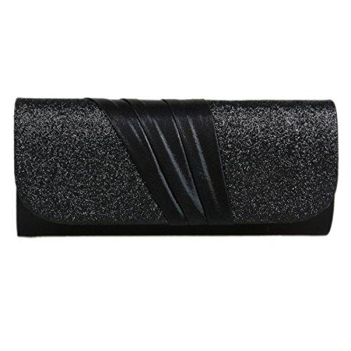 Damara® Elegnat Damen Satin Exquist Magnet Handtaschen Mit Pailletten Schwarz