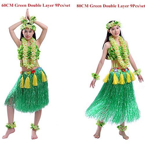 Hawaiian Hula Tänzer Grass Rock für Kostüm Party, Veranstaltungen, Geburtstage, Celebration-9Pcs (Grün 60CM)