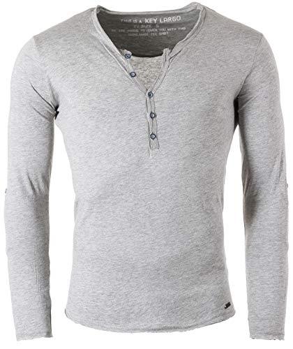 Key Largo Herren Uni Henley Longsleeve Ginger Button Langarm T-Shirt mit Kopfleiste Slim fit MLS00038, Grösse:3XL, Farbe:Silver Melange -