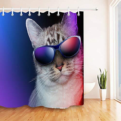 AdaCrazy Katze Sonnenbrille Hintergrundmuster Duschvorhang gesetzt 3D-Druck Wasserdicht beschichtetes Polyestergewebe Bad mit 12 Haken 71 Zoll 180 * 180cm