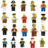 Mini Men Figures Set of 20 Characters Set Building Brick Block Community People Mini Character Men Cowboy,Pirate,Wizard & More Multi Packs (20 Pack)