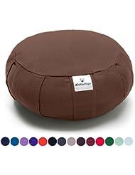Cojín Zafu »Moogli« / Cojín clásico para yoga y meditación, cojín de yoga / 100% algodón / 35 cm x 15 cm / disponible en una gran variedad de magníficos colores / Chocolate