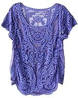 Amonfineshop Blumen Semi Sheer Hemd-T-Shirt Spitze-Häkelarbeit-Spitzenbluse (blau)