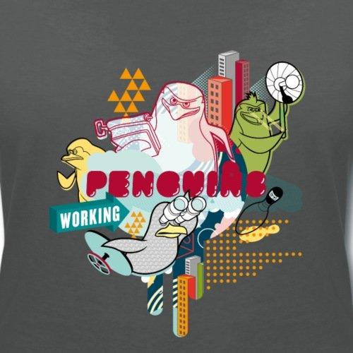 DreamWorks Les Pingouins De Madagascar Working Au Travail T-shirt col V Femme de Spreadshirt® Charbon