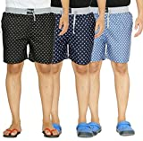 #7: Yo Republic Mens Cotton Boxer Shorts Combo offer (Pack of 3) (AT-0465-1 L_Black_Dark Blue_Light Blue_Large)