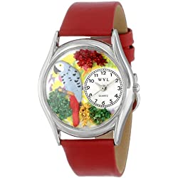 African Gray Parrot Red Leather And Silvertone Watch #S0150002