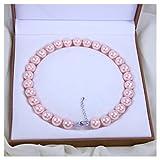 Schmuckwilly Muschelkernperlen Perlenkette Perlen Collier - Muschelkernperlenkette Halskette rosa Hochwertige aus echter Muschel 45cm 14mm mk14mm024-45
