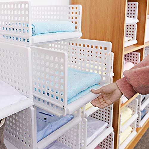 Schlafzimmer Organizer (Yoillione Regal Kleiderschrank Organizer Schublade Weiß für Schlafzimmer Badezimmer Küchen,Stapelbar Schrank Organizer Kleiderschrank Aufbewahrung Garderobe Organizer für Kleidung)
