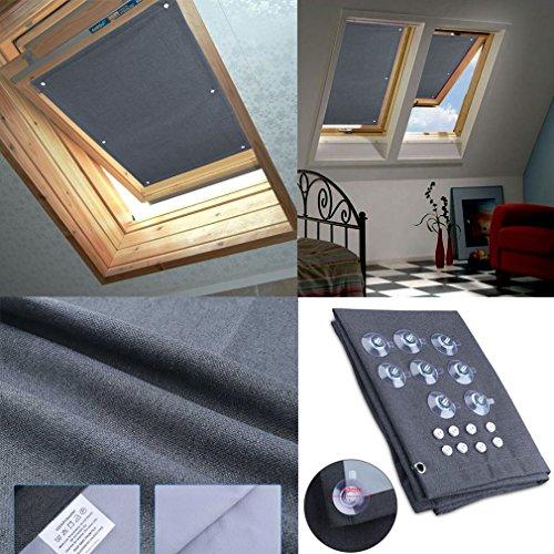 HDM 60x93 cm Store pour Fenêtre de Toit Velux Rideau Occultant Complète avec Ventouses sans Perçage Protection Solaire au Revêtement Thermique Protection écran et soleil pour fenêtres de toit Velux, fenêtres, balcon, pour (MK06, M06) GGU GGL GPU GPL GHU GHL GTU GTL GXU GXL U08 102 C02 104 C04 204 F04 306 M06 406 P06 067 Y67 606 S06 608 S08 087 Y87 808 GGL GPL GGU GPU GHL