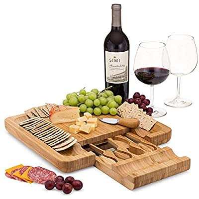 Large Bamboo Cheese Board and Knife Set - with Slate Centerpiece, Wood Charcuterie Platter, Serving Meat Board with Slide-Out Drawer with 4 Stainless Steel Knife and Server Set 33cm x 33cm x 5cm