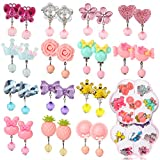Hifot 14 Pairs Clip-on Earrings with Earring Pads No Pierced Design Earrings Dress up Princess Jewelry Accessories for Girls Kids Toddler in 2 Clear Boxes