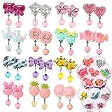 Hifot 14 Paare Clip Mädchen Ohrringe Prinzessin Klipp Ohrring Set Dress up Prinzessin Schmuck Zubehör für Mädchen Kinder Kleinkind in 2 klaren Boxen