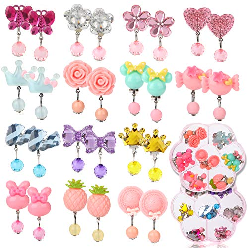 Hifot 14 coppie orecchini a clip nessun orecchini di design trafitto vesti accessori per gioielli principessa per ragazze bambini bambino in 2 caselle trasparenti