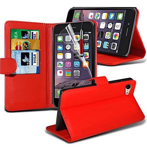 Spyrox Elégant haut de gamme BookStyle PU Portefeuille en cuir flip Avec 3 Crédit couverture de peau Slot Case / carte de débit Avec écran LCD Protecteur & Chiffon Pour Apple Iphone 6 4.7 inch WFLIP rouge + stylo