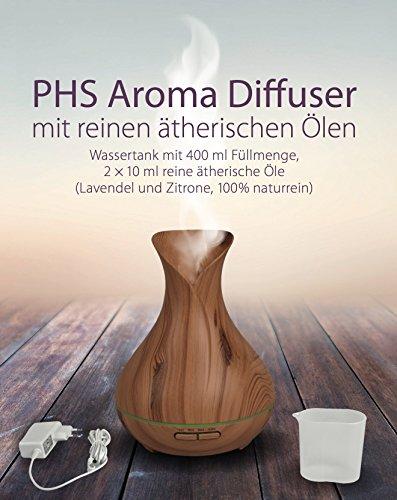 PHS Aroma Diffuser – Aromatherapie und Luftbefeuchter in einem – verbreitet angenehmen Duft durch zwei feine Duftöl-Sorten und dient zugleich als stilvolle Dekoration – fürs Wohnzimmer oder fürs Büro