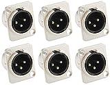 Adam Hall Connectors 7838 - 6er Set XLR-Einbaubuchse male / männlich 3-pol D-Typ silber Einbaustecker