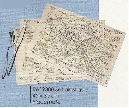 FRANZOSICH VINTAGE TISCHSET 45x30cm PARIS U-BAHN-KARTE RATP (Vintage Karte Tischset)