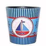 Papierkorb Büro, Foxom PU Leder Vintage Abfalleimer Mülleimer Mülltonne Papierkorb für Büro/Badezimmer/küche/Schlafzimmer Deko (Meer Motiv-3)