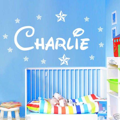 """Adesivo da parete personalizzato nome con stelle stile Disney, Stanza dei bambini, nursery B zz2, White, -Small -SIZE 60cm x 20cm (24"""" x 8"""")"""