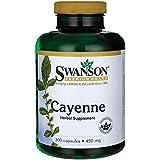 Swanson Poivre de Cayenne 450mg, 300 gélules (Contient 40.000 Unités Thermiques de Capsaïcine, Cayenne capsules)